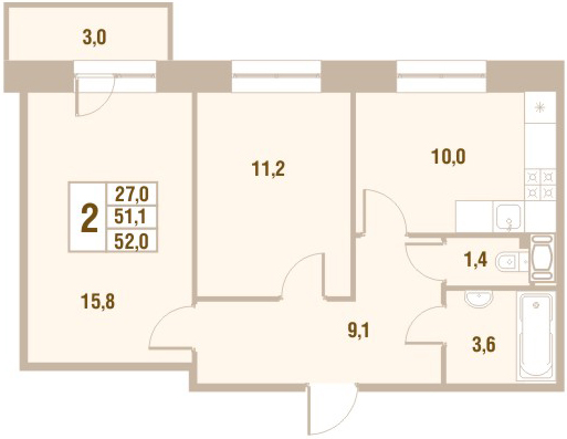 Планировка Двухкомнатная квартира площадью 52 кв.м в ЖК «Новый Оккервиль (V очередь-Дом у Рябиновой аллеи)»