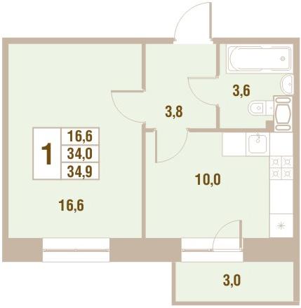 Планировка Однокомнатная квартира площадью 34.9 кв.м в ЖК «Новый Оккервиль (V очередь-Дом у Рябиновой аллеи)»