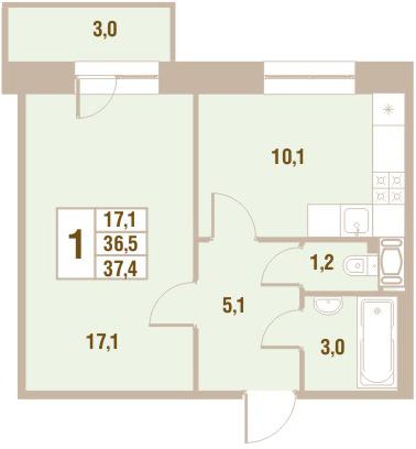 Планировка Однокомнатная квартира площадью 37.4 кв.м в ЖК «Новый Оккервиль (V очередь-Дом у Рябиновой аллеи)»