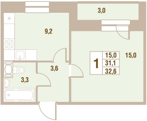 Планировка Однокомнатная квартира площадью 32.6 кв.м в ЖК «Новый Оккервиль (V очередь-Дом у Рябиновой аллеи)»