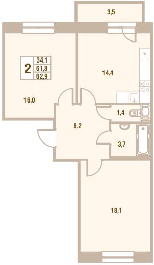 Планировка Двухкомнатная квартира площадью 62.9 кв.м в ЖК «Новый Оккервиль (V очередь-Дом у Рябиновой аллеи)»