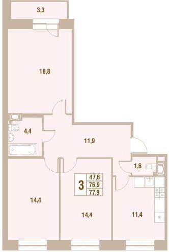 Планировка Трёхкомнатная квартира площадью 77.9 кв.м в ЖК «Новый Оккервиль (V очередь-Дом у Рябиновой аллеи)»