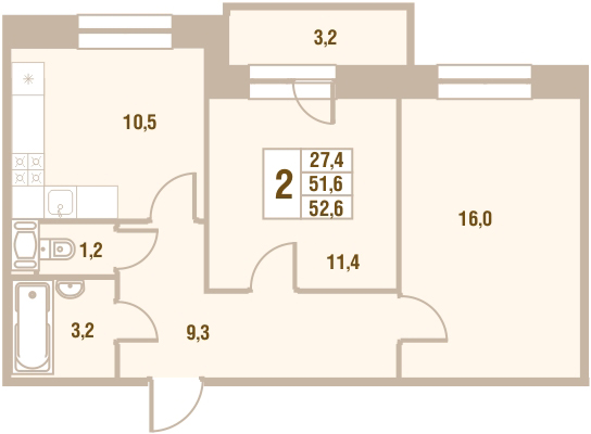 Планировка Двухкомнатная квартира площадью 52.6 кв.м в ЖК «Новый Оккервиль (V очередь-Дом у Рябиновой аллеи)»