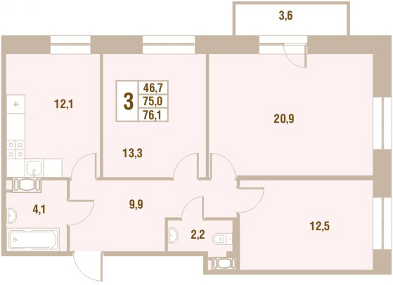 Планировка Трёхкомнатная квартира площадью 76.1 кв.м в ЖК «Новый Оккервиль (V очередь-Дом у Рябиновой аллеи)»