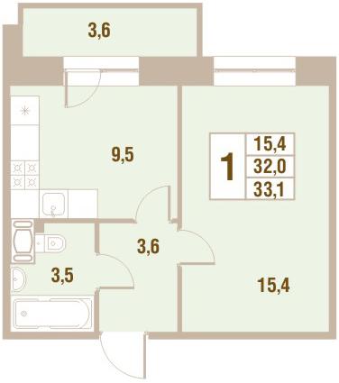 Планировка Однокомнатная квартира площадью 33.1 кв.м в ЖК «Новый Оккервиль (V очередь-Дом у Рябиновой аллеи)»