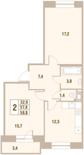 Планировка Двухкомнатная квартира площадью 58.8 кв.м в ЖК «Новый Оккервиль (V очередь-Дом у Рябиновой аллеи)»
