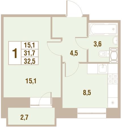Планировка Однокомнатная квартира площадью 32.5 кв.м в ЖК «Новый Оккервиль (V очередь-Дом у Рябиновой аллеи)»