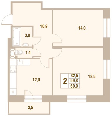 Планировка Двухкомнатная квартира площадью 60.9 кв.м в ЖК «Новый Оккервиль (V очередь-Дом у Рябиновой аллеи)»